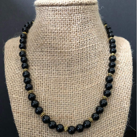 Men's Black Onyx and Gold Beaded Necklace