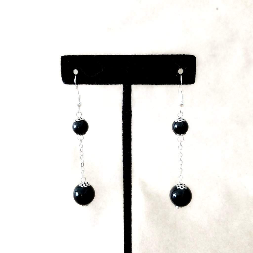 Black Onyx Double Bead Long Earrings - JaeBee Jewelry