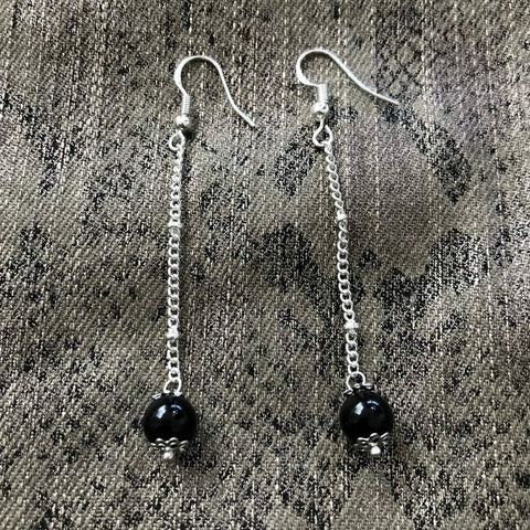 Black Onyx Long Dangle Earrings