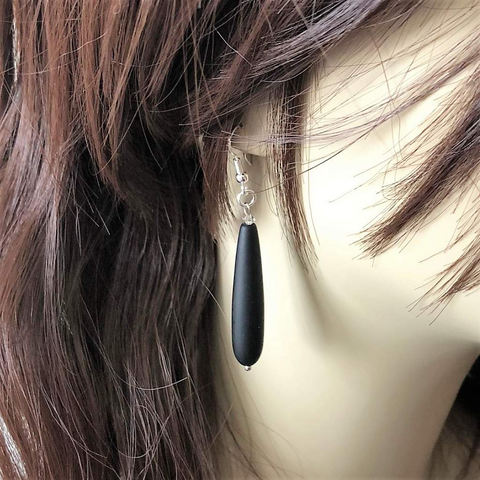 Matte Black Onyx Long Teardrop Earrings