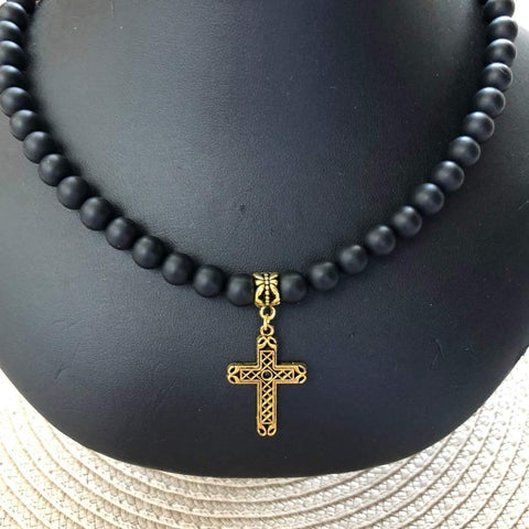 Matte Black Onyx Mens Beaded Necklace with Gold Cross