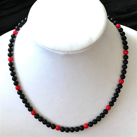 Black Matte Onyx and Red Beaded Mens Necklace