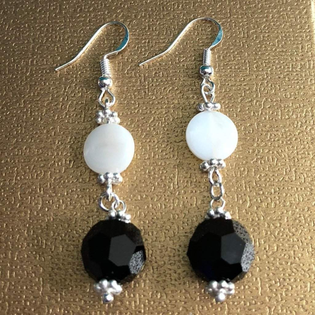 Black Swarovski and White Pearl Dangle Earrings - JaeBee