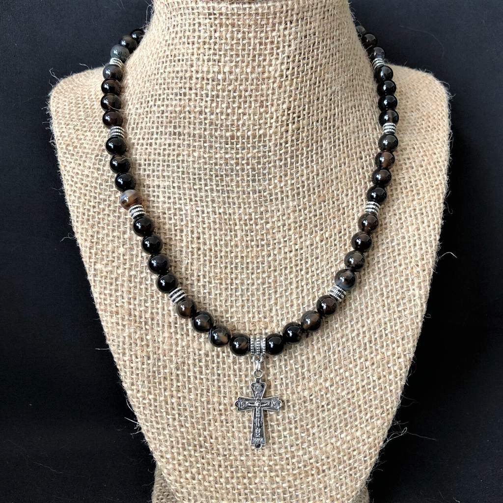 Mens Black and Smoky Brown Agate Beaded Necklace With Silver Cross