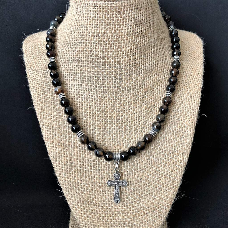 Mens Black and Smoky Brown Agate Beaded Necklace With Silver Cross - JaeBee Jewelry