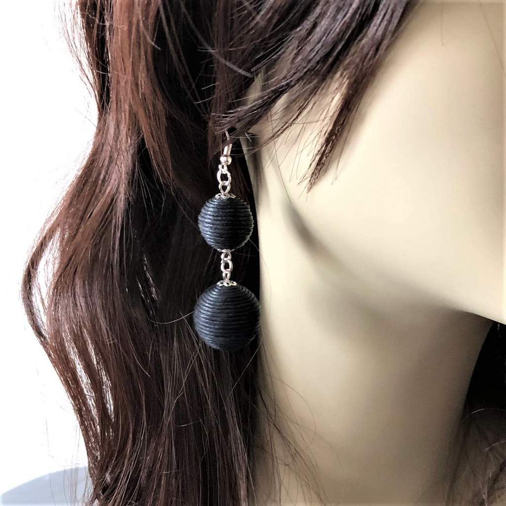 Black Thread Ball Dangle Earrings - JaeBee Jewelry