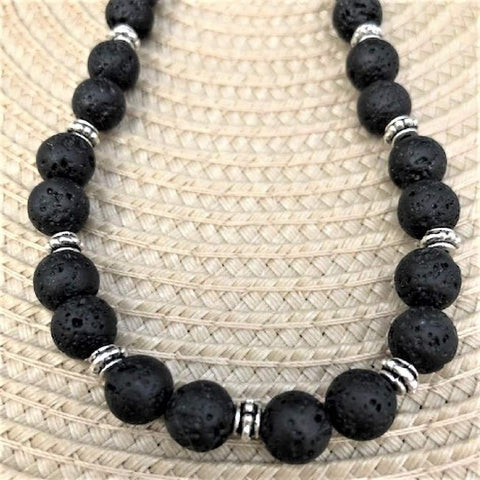 Black Lava Rock Beaded Necklace