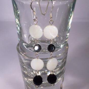 Black Swarovski and White Shell Sterling Silver Dangle Earrings