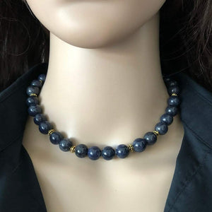 Blue Sodalite Beaded Collar Necklace - JaeBee Jewelry