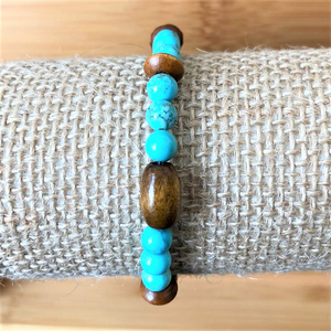 Turquoise Magnesite and Brown Wood Beaded Bracelet - JaeBee Jewelry
