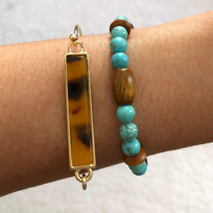 Turquoise Magnesite and Brown Wood Beaded Bracelet
