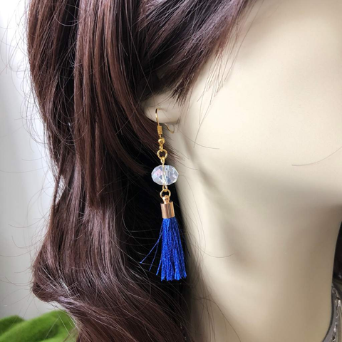 Blue Tassel and Clear Crystal Dangle Earrings