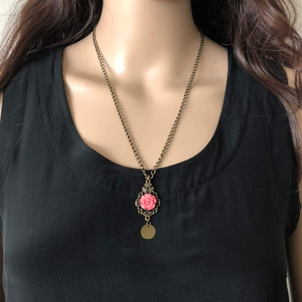 Brass Pendant Flower Necklace - JaeBee Jewelry