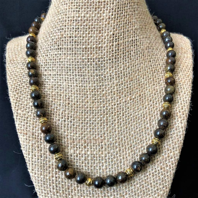 Bronzite Mens Beaded Necklace - JaeBee Jewelry