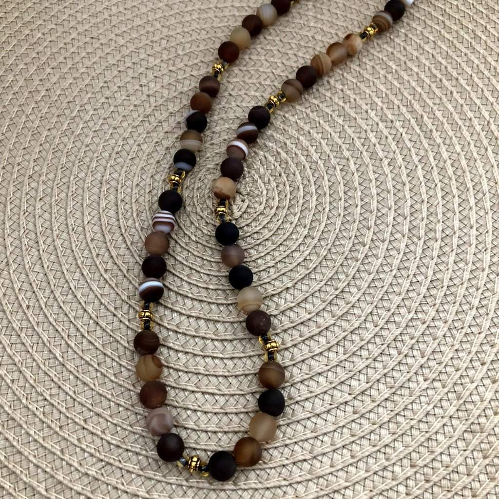 Brown Matte Agate Mens Beaded Necklace - JaeBee Jewelry