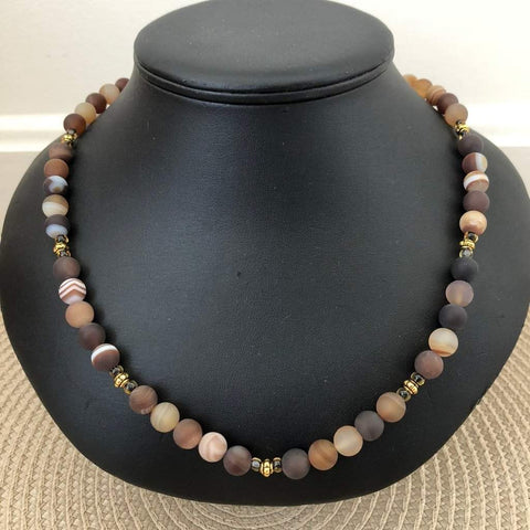Brown Matte Agate Mens Beaded Necklace