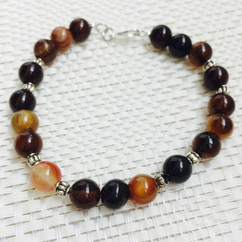 Brown Agate Men's Beaded Bracelet