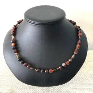 Round Brown and Black Agate Beaded Mens Necklace