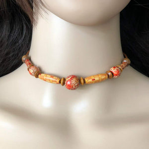 Natural Wood Brown, Beige, and Red Beaded Choker - JaeBee Jewelry