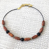 Brown and Black Wood Beaded Choker - JaeBee Jewelry