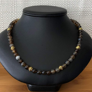 Brown Line Agate Mens Beaded Necklace - JaeBee Jewelry