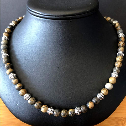 Brown, Black, and Gray Jasper Mens Beaded Necklace