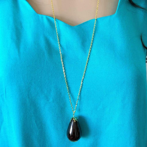 Brown Ceramic Teardrop Long Necklace