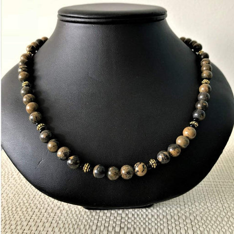 Brown and Black Jasper Stone Mens Necklace
