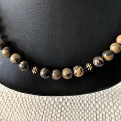 Brown and Black Jasper Stone Mens Necklace - JaeBee Jewelry