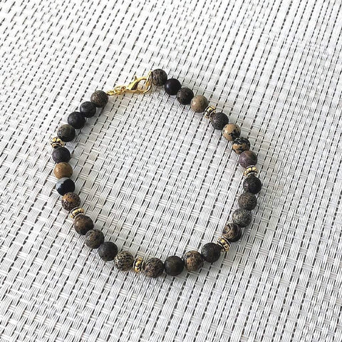Brown Jasper Mens Beaded Bracelet