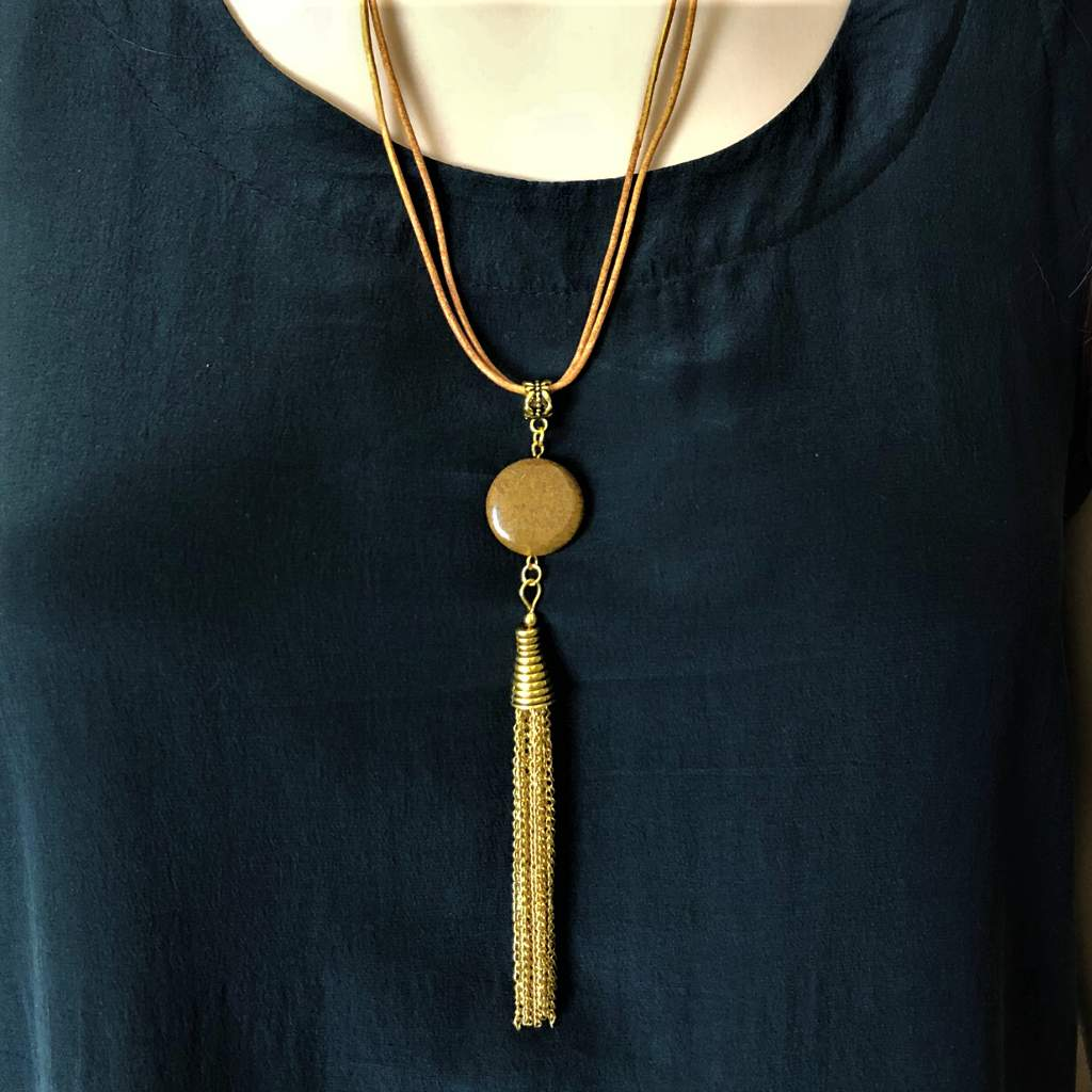 Brown Jasper and Leather Long Tassel Necklace - JaeBee
