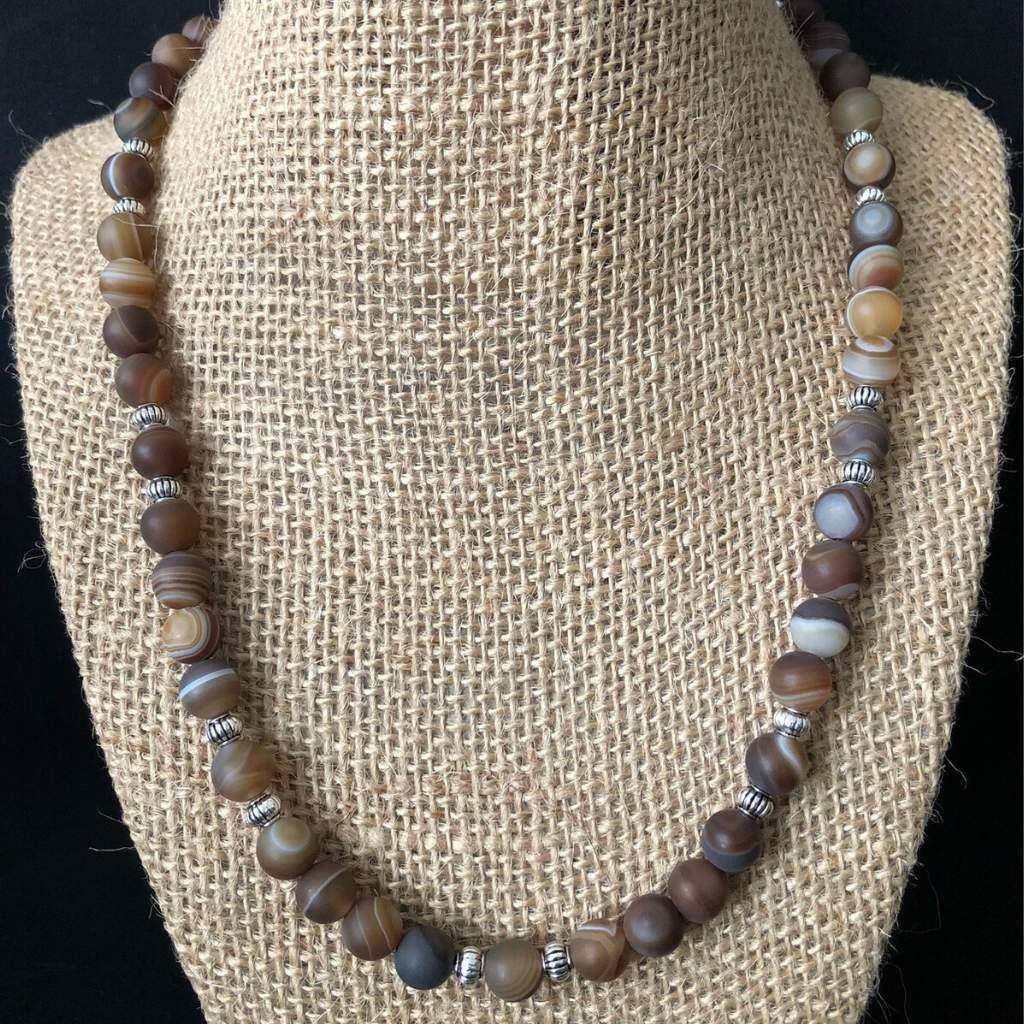Matte Brown Line Agate and Silver Bead Mens Necklace