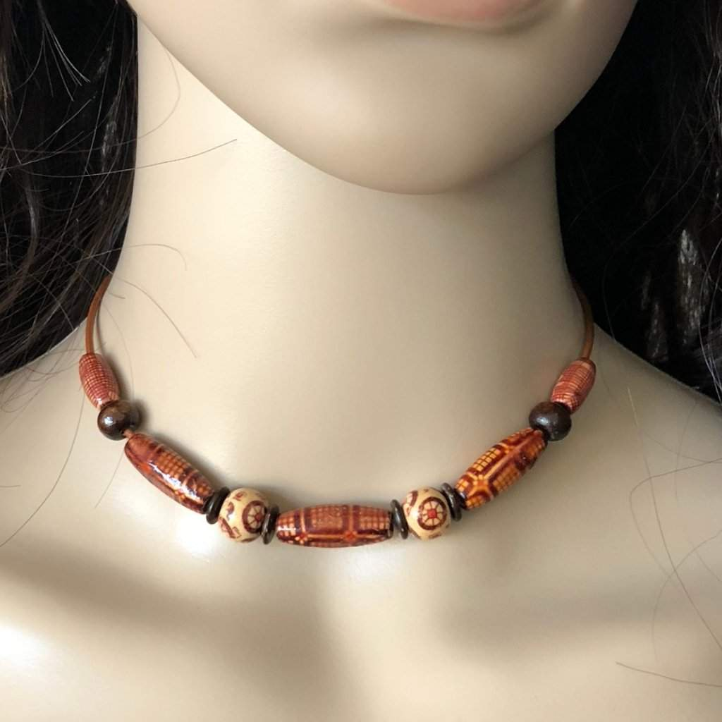 Natural Brown, Beige and Black Wood Beaded Choker