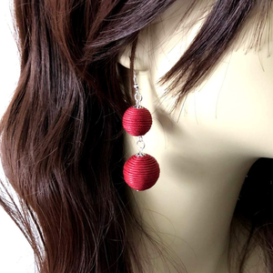 Burgundy Thread Ball Long Dangle Earrings - JaeBee Jewelry