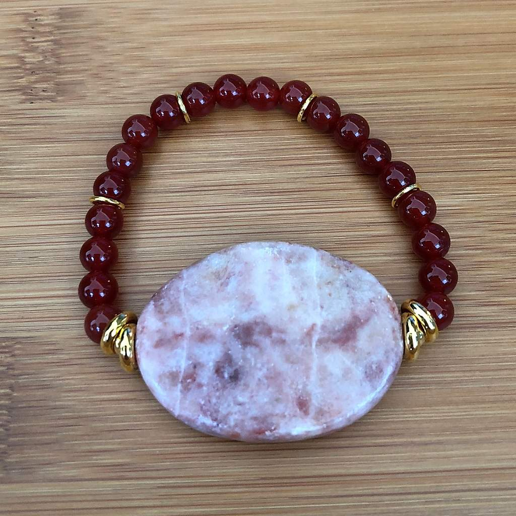 Carnelian and Marble Beaded Bracelet - JaeBee Jewelry
