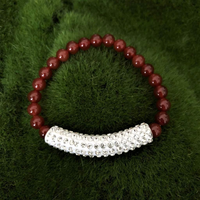 Carnelian and Crystal Bar Beaded Bracelet - JaeBee Jewelry