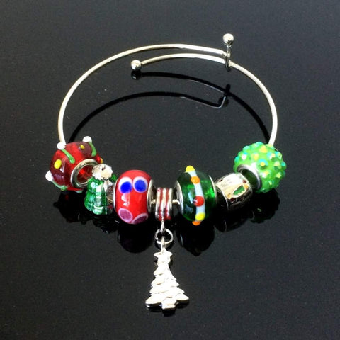 Christmas Tree Bead Bangle Bracelet