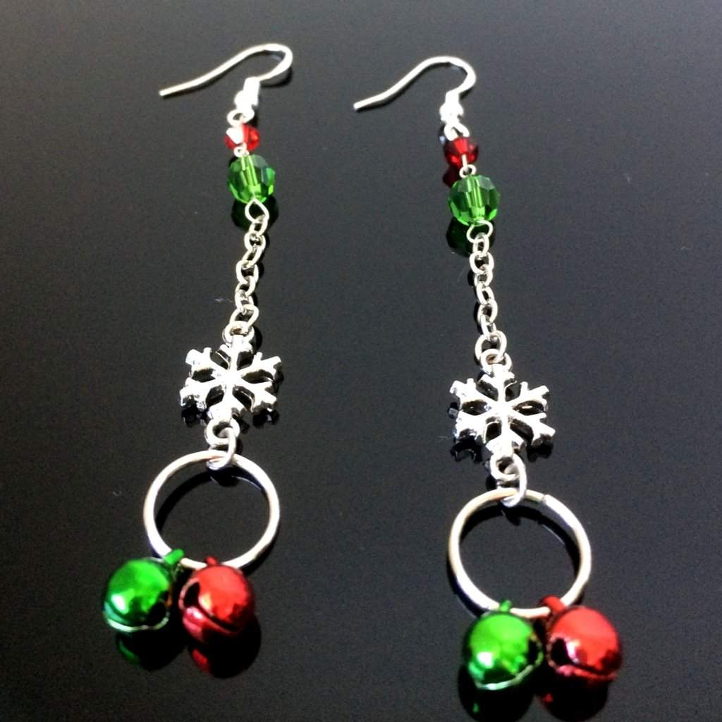 Christmas Snowflake Bell Long Earrings - JaeBee Jewelry