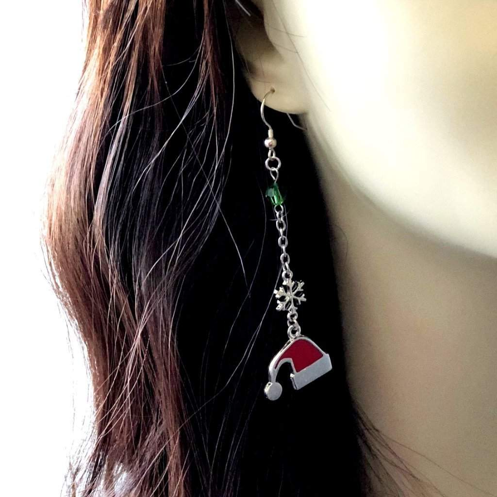 Santa Clause Christmas Stocking Hat Long Dangle Earrings