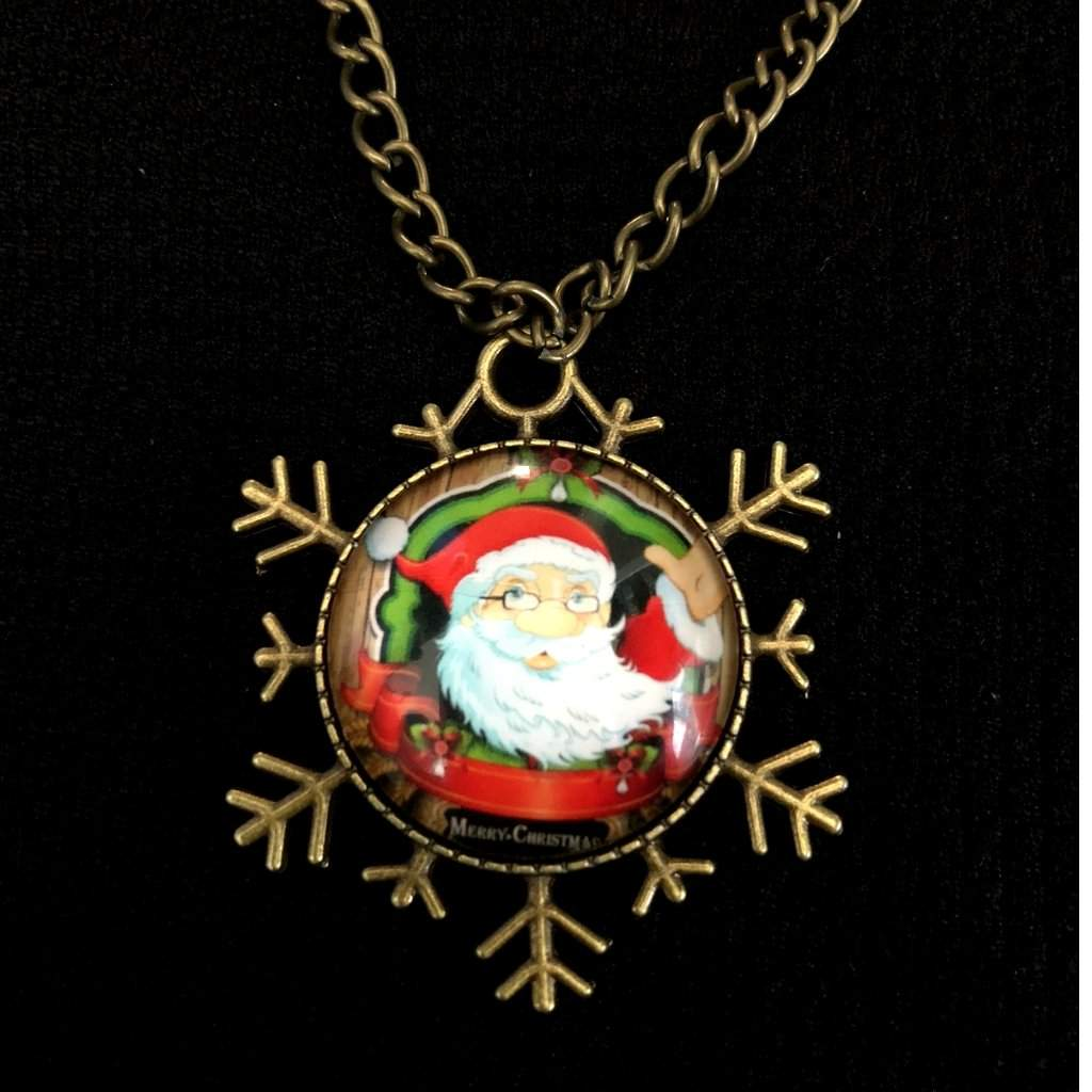 Christmas Santa Clause Cabochon Pendant Necklace - JaeBee Jewelry