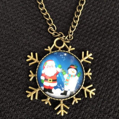 Santa Clause and Snowman Christmas Snowflake Necklace