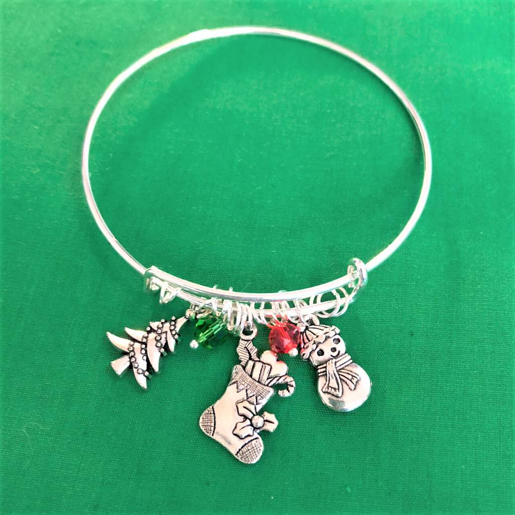 Christmas Tree, Christmas Stocking, and Snowman Silver Bangle Bracelet