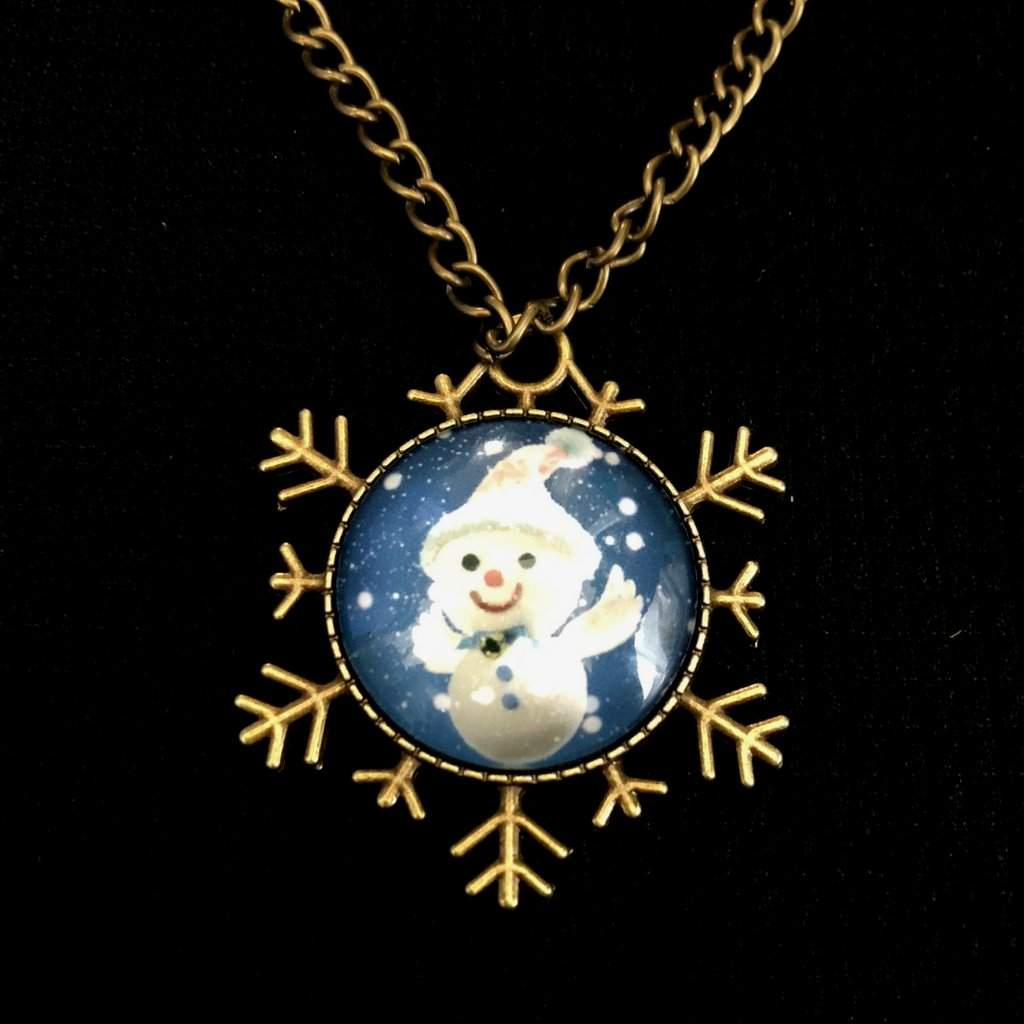 Snowman Blue Cabochon Christmas Snowflake Necklace