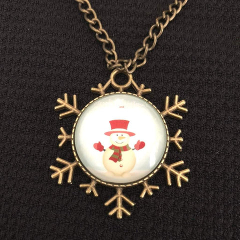 Snowman Christmas Snowflake Necklace