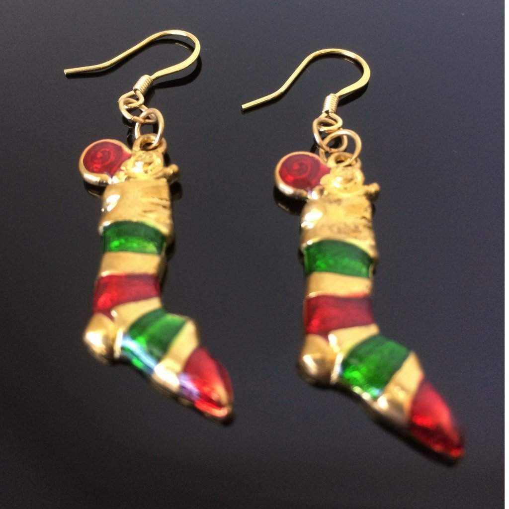 Christmas Stockings Gold Dangle Earrings - JaeBee Jewelry