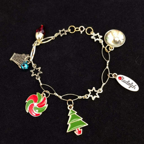 Gold Christmas Charm Bracelet with Christmas Tree and Ornaments