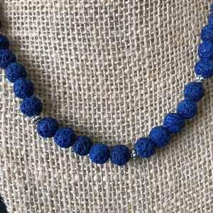 Cobalt Blue Lava Beaded Necklace Unisex - JaeBee Jewelry