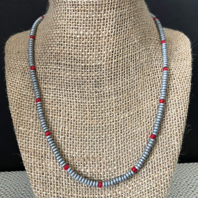 Concrete Gray Hematite Matte and Red Beaded Mens Necklace - JaeBee Jewelry