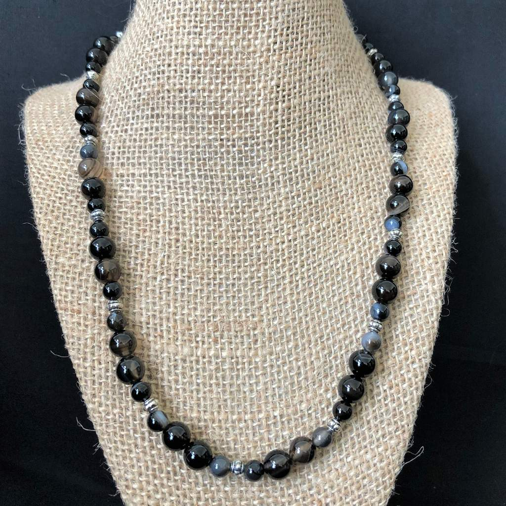 Dark Brown Line Agate Mens Beaded Necklace - JaeBee Jewelry