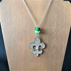 Fleur de Lis Long Silver and Crystal Pendant - JaeBee Jewelry